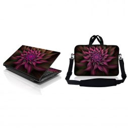 Notebook / Netbook Sleeve Carrying Case w/ Handle & Adjustable Shoulder Strap & Matching Skin – Purple Floral Flower