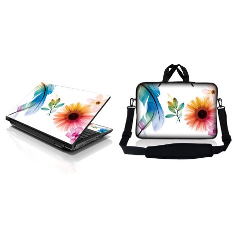 Notebook / Netbook Sleeve Carrying Case w/ Handle & Adjustable Shoulder Strap & Matching Skin – Daisy Flower Leaves Floral