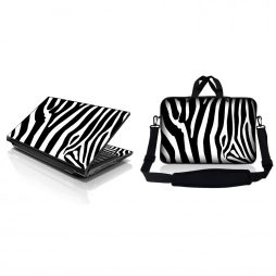 Notebook / Netbook Sleeve Carrying Case w/ Handle & Adjustable Shoulder Strap & Matching Skin – Zebra Print