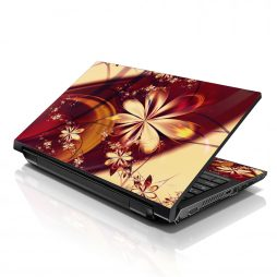Notebook / Netbook Sleeve Carrying Case w/ Handle & Adjustable Shoulder Strap & Matching Skin – Gold Flower Floral