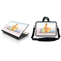 Notebook / Netbook Sleeve Carrying Case w/ Handle & Adjustable Shoulder Strap & Matching Skin – Musical Notes