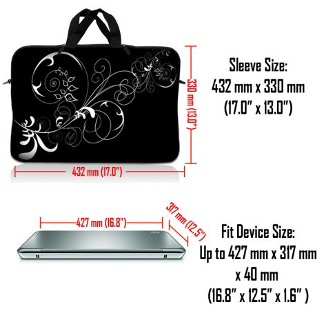Notebook / Netbook Sleeve Carrying Case w/ Handle & Adjustable Shoulder Strap & Matching Skin – Black and White Swirl Floral
