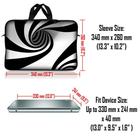Notebook / Netbook Sleeve Carrying Case w/ Handle & Adjustable Shoulder Strap & Matching Skin – Tornado White and Black Swirl