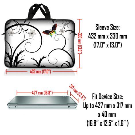 Notebook / Netbook Sleeve Carrying Case w/ Handle & Adjustable Shoulder Strap & Matching Skin – White Butterfly Escape Floral