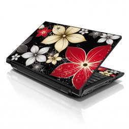 Notebook / Netbook Sleeve Carrying Case w/ Handle & Adjustable Shoulder Strap & Matching Skin – Black Gray Red Flower Leaves