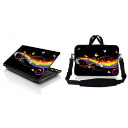 Notebook / Netbook Sleeve Carrying Case w/ Handle & Adjustable Shoulder Strap & Matching Skin – Rainbow Butterfly