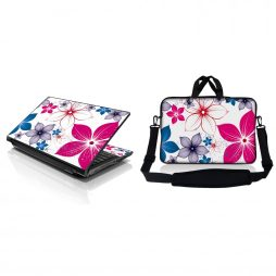 Notebook / Netbook Sleeve Carrying Case w/ Handle & Adjustable Shoulder Strap & Matching Skin – White Pink Blue Flower Leaves