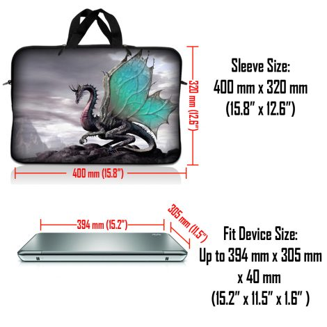 Notebook / Netbook Sleeve Carrying Case w/ Handle & Adjustable Shoulder Strap & Matching Skin – Flying Dragon