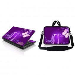 Notebook / Netbook Sleeve Carrying Case w/ Handle & Adjustable Shoulder Strap & Matching Skin – Purple Butterfly Floral