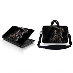 Notebook / Netbook Sleeve Carrying Case w/ Handle & Adjustable Shoulder Strap & Matching Skin – Reaper Skull