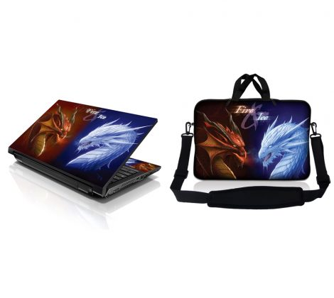 Notebook / Netbook Sleeve Carrying Case w/ Handle & Adjustable Shoulder Strap & Matching Skin – Fire & Ice Dragons