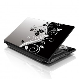 Notebook / Netbook Sleeve Carrying Case w/ Handle & Adjustable Shoulder Strap & Matching Skin – Gray Black Swirl Floral