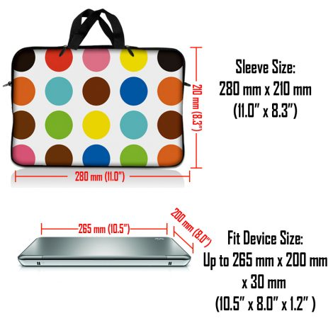 Notebook / Netbook Sleeve Carrying Case w/ Handle & Adjustable Shoulder Strap & Matching Skin – Polka Dots
