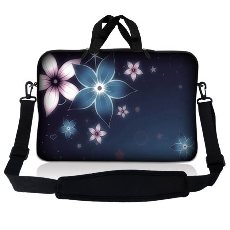 Notebook / Netbook Sleeve Carrying Case w/ Handle & Adjustable Shoulder Strap & Matching Skin – Plumeria Flower Floral