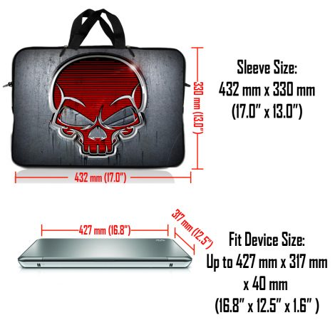 Notebook / Netbook Sleeve Carrying Case w/ Handle & Adjustable Shoulder Strap & Matching Skin – Silver Red Skull