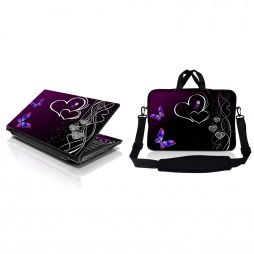 Notebook / Netbook Sleeve Carrying Case w/ Handle & Adjustable Shoulder Strap & Matching Skin – Butterfly Heart Floral