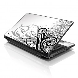 Notebook / Netbook Sleeve Carrying Case w/ Handle & Adjustable Shoulder Strap & Matching Skin – Grey Swirl Black & White Floral