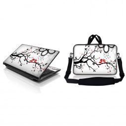 Notebook / Netbook Sleeve Carrying Case w/ Handle & Adjustable Shoulder Strap & Matching Skin – Love Birds