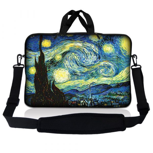 Notebook / Netbook Sleeve Carrying Case w/ Handle & Adjustable Shoulder Strap & Matching Skin – Starry Night