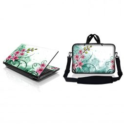 Notebook / Netbook Sleeve Carrying Case w/ Handle & Adjustable Shoulder Strap & Matching Skin – Pink Flower Floral