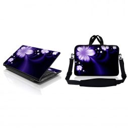 Notebook / Netbook Sleeve Carrying Case w/ Handle & Adjustable Shoulder Strap & Matching Skin – Purple Flower Floral