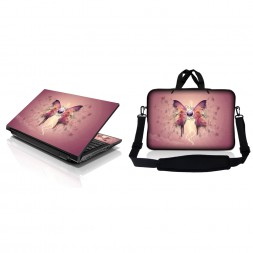 Notebook / Netbook Sleeve Carrying Case w/ Handle & Adjustable Shoulder Strap & Matching Skin – Pink Buttefly Floral
