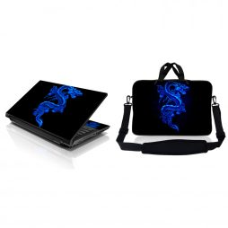 Notebook / Netbook Sleeve Carrying Case w/ Handle & Adjustable Shoulder Strap & Matching Skin – Blue Dragon