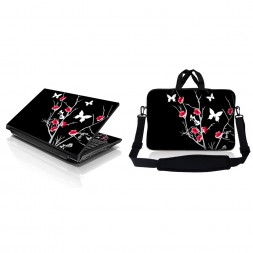 Notebook / Netbook Sleeve Carrying Case w/ Handle & Adjustable Shoulder Strap & Matching Skin – Pink Gray Floral
