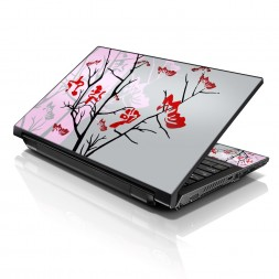 Notebook / Netbook Sleeve Carrying Case w/ Handle & Adjustable Shoulder Strap & Matching Skin – Pink Gray
