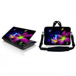 Notebook / Netbook Sleeve Carrying Case w/ Handle & Adjustable Shoulder Strap & Matching Skin – Purple Blue Floral