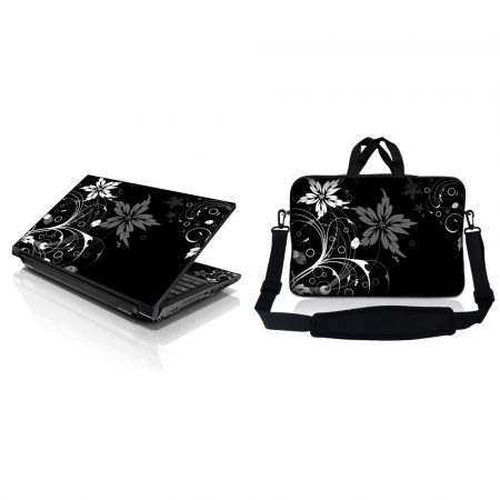 Notebook / Netbook Sleeve Carrying Case w/ Handle & Adjustable Shoulder Strap & Matching Skin – Black and White Floral
