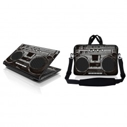 Notebook / Netbook Sleeve Carrying Case w/ Handle & Adjustable Shoulder Strap & Matching Skin – Cassette Player Design