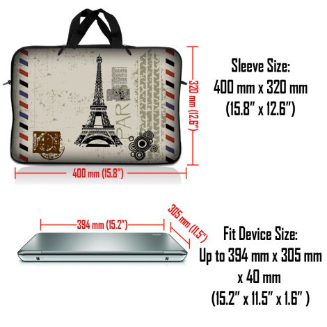 Notebook / Netbook Sleeve Carrying Case w/ Handle & Adjustable Shoulder Strap & Matching Skin – Paris Design