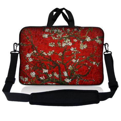Notebook / Netbook Sleeve Carrying Case w/ Handle & Adjustable Shoulder Strap & Matching Skin – Red Almond Trees