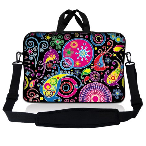 Notebook / Netbook Sleeve Carrying Case w/ Handle & Adjustable Shoulder Strap & Matching Skin – Art Design