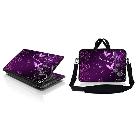 Notebook / Netbook Sleeve Carrying Case w/ Handle & Adjustable Shoulder Strap & Matching Skin – Purple Heart Butterfly