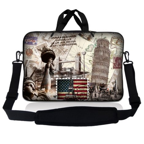 Notebook / Netbook Sleeve Carrying Case w/ Handle & Adjustable Shoulder Strap & Matching Skin – World Landmarks