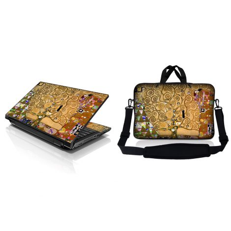Notebook / Netbook Sleeve Carrying Case w/ Handle & Adjustable Shoulder Strap & Matching Skin – Klimt Tree of Life