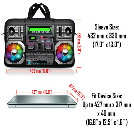 Notebook / Netbook Sleeve Carrying Case w/ Handle & Adjustable Shoulder Strap & Matching Skin – Boom Box Music