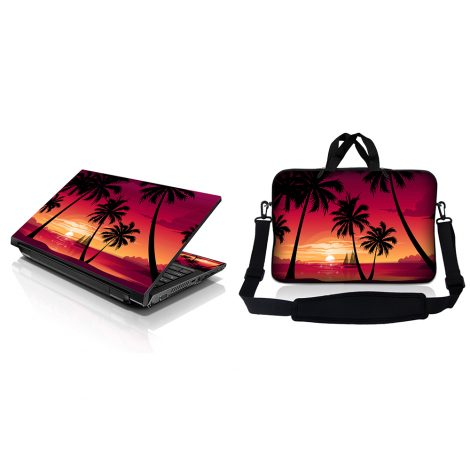 Notebook / Netbook Sleeve Carrying Case w/ Handle & Adjustable Shoulder Strap & Matching Skin – Hawaiian Paradise Palm Tree
