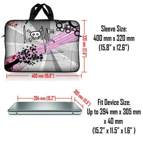 Notebook / Netbook Sleeve Carrying Case w/ Handle & Adjustable Shoulder Strap & Matching Skin – Love Skull Floral